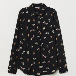 NWOT H&M Watercolor Crawlers Button-down Shirt